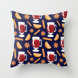 Mulled wine, spiced wine pattern. Throw Pillow