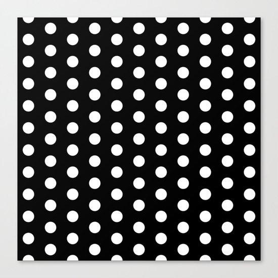 Black White Polka Dots Canvas Print