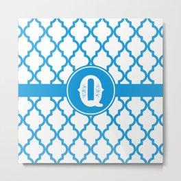 Blue Monogram: Letter Q Metal Print