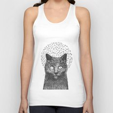 Dandelion black cat Unisex Tank Top