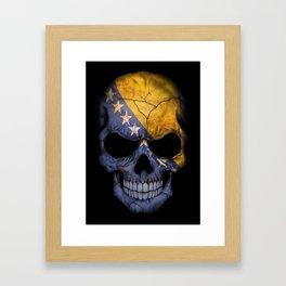 Dark Skull with Flag of Bosnia and Herzegovina Framed Art Print