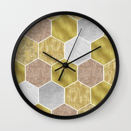 Gold honeycomb hexagons with marble and foil Wall Clock