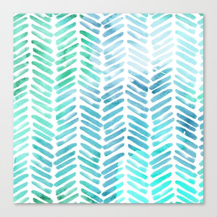 Handpainted Chevron pattern - light green and aqua - stripes Canvas Print