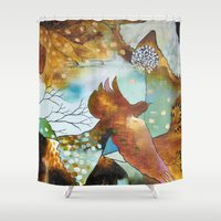 """flora bowley Shower Curtains featuring """"Two Hearts"""" Original Painting by Flora Bowley by Flora Bowley"""