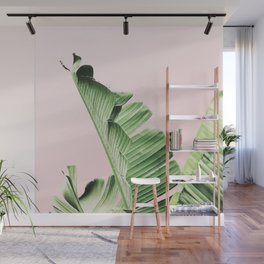 Banana Leaf on pink Wall Mural