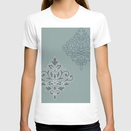 Scroll Damask Art I (outline) Crm Blues Teal T-shirt