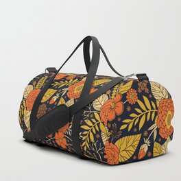 Retro Orange, Yellow, Brown, & Navy Floral Pattern Duffle Bag