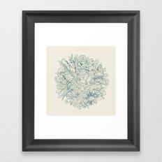 Denim flower circle Framed Art Print