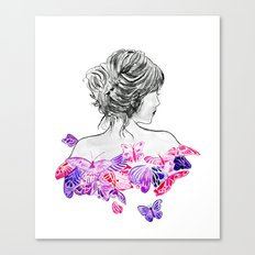 Lady and butterflies Canvas Print