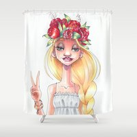 hippie Shower Curtains featuring Hippie by Meldoodles
