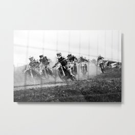 Motocross black white Metal Print