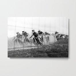 Motocross black white Metal Print