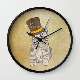 Meow | Funny Cute Kitten Cat Vintage Sketch Monocle and Top Hat Wall Clock