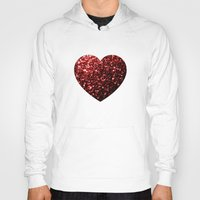 sparkles Hoodies featuring Red Glitter sparkles Heart  by PLdesign