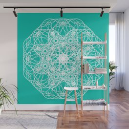 Fractal Art on turquoise background Wall Mural