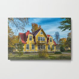Picture of red wooden scandinavian style house at the lake during autumn Metal Print