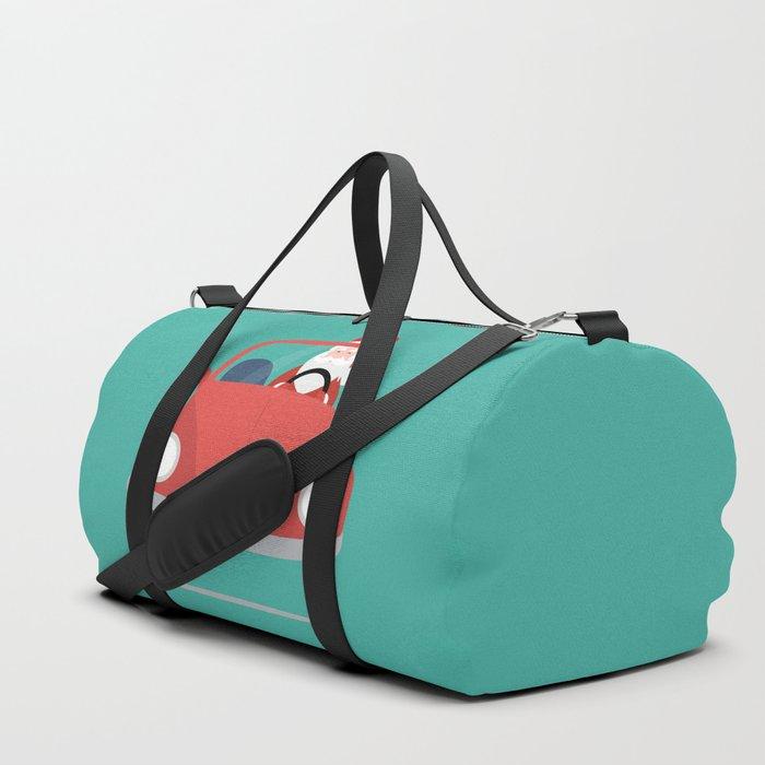 Santa Claus coming to you on his Car Sleigh Duffle Bag
