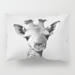 Baby Giraffe - Black & White Pillow Sham