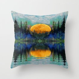 HARVEST MOON WILDERNESS LAKE LANDSCAPE Throw Pillow