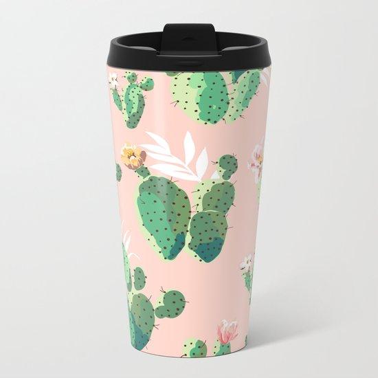 Vintage Cactus Pattern Metal Travel Mug