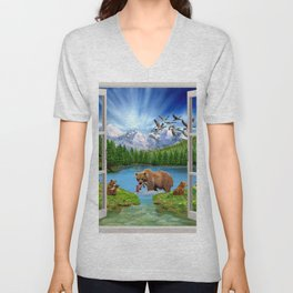 Window to the Great Bear Wilderness Unisex V-Neck