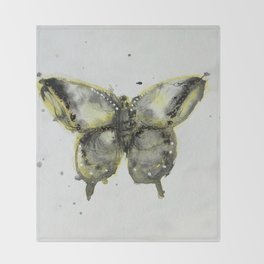 Yellow and Gray Butterfly Throw Blanket