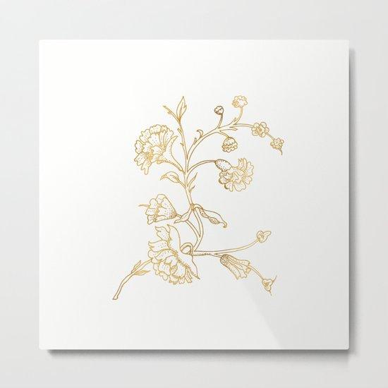 Golden flower on white background Metal Print