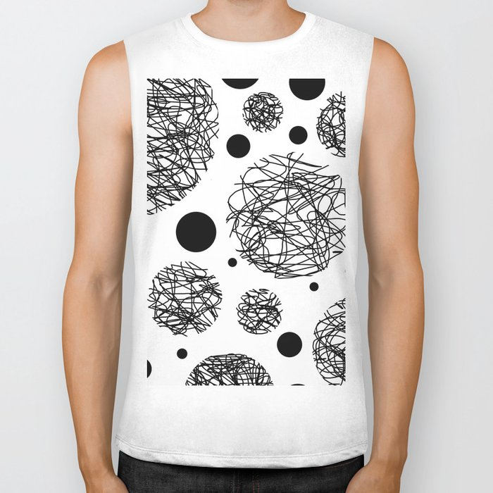 Scribbles - Black and white scribbles and black circles pattern on white Biker Tank