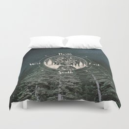 Mountains Compass Milky Way Woods Gold Duvet Cover