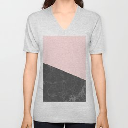 Marble Geometric Blush Pink Gray Black Unisex V-Neck