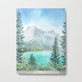 Emerald Lake Watercolor Metal Print