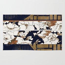 Navy and Gold Herringbone Peony Obi Print Rug