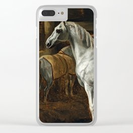 """Théodore Géricault """"White horse standing in a stable (Tamerlan, stallion of the Versailles stables)"""" Clear iPhone Case"""
