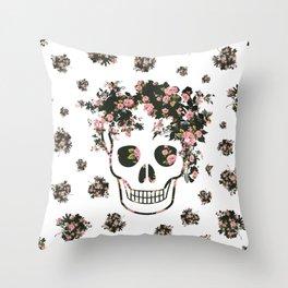 Flower Skull, Floral Skull, Pink Flowers on Human Skull Throw Pillow