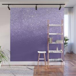 Modern ultra violet faux glitter ombre purple color block Wall Mural