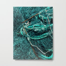 Teal Nautical Rope Metal Print