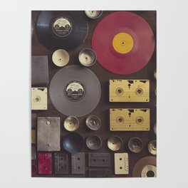 Music. Vintage wall with vinyl records and audio cassettes hung. Poster