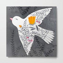 floral bird on grey illustration Metal Print