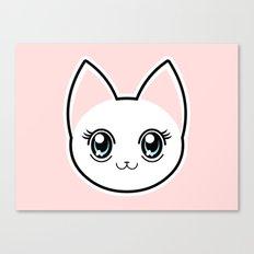 White Anime Eyes Cat Canvas Print