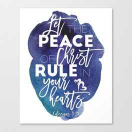 Bible verse watercolor typography blue background Colossians 3:15 Canvas Print