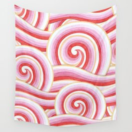 Red Auspicious Waves Wall Tapestry
