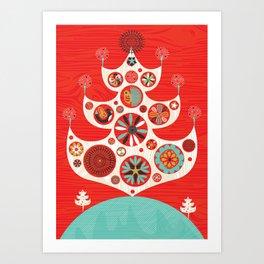 Festive Yule Christmas Tree Art Print