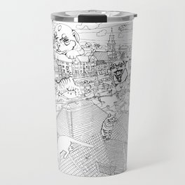 Giant cats and dogs take over the city Travel Mug