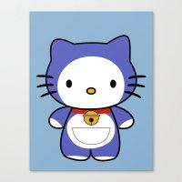 doraemon Canvas Prints featuring Hello Doraemon by kourai