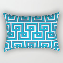 Greek Key - Turquoise Rectangular Pillow