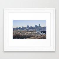 kansas city Framed Art Prints featuring kansas city by sannngat