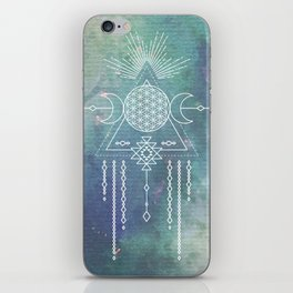 Mandala Flower of Life in Turquoise Stars iPhone Skin