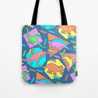 yetiland Tote Bags featuring Nineties Dinosaur Pattern by chobopop