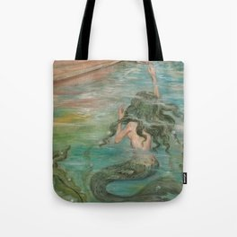 could we be friends? Bffs bestfriends mermaid and beautiful lady boat on the ocean at sunset Tote Bag