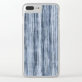 Blue Watercolor Wood Grain Stripe Clear iPhone Case